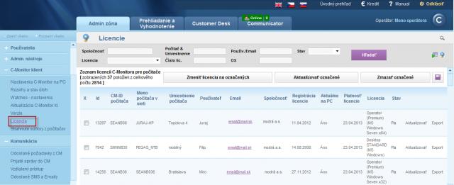 Zobrazenie typu a stavu licencie pre počítače registrované na CM serveri