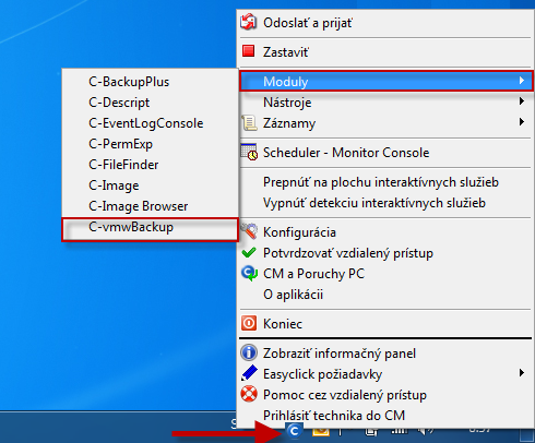 Zobrazenie C-vmwBackup v časti moduly