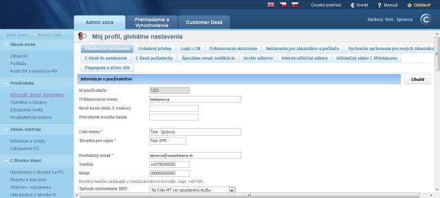 Zobrazenie nastavenia profilu správcu a globálnych nastavení