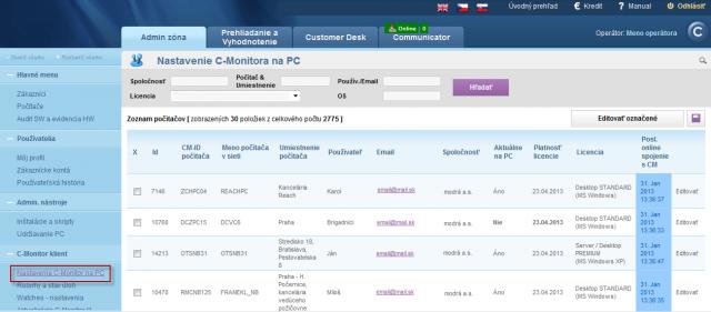 Nastavenie C-Monitor klienta na PC - zobrazenie zoznamu PC s nainštalovaným C-Monitor klientom