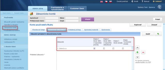Priradenie zákazníckeho konta ku zákazníkovi a nastavenie zasielania kópií a emailov z C-Desk a technickej časti