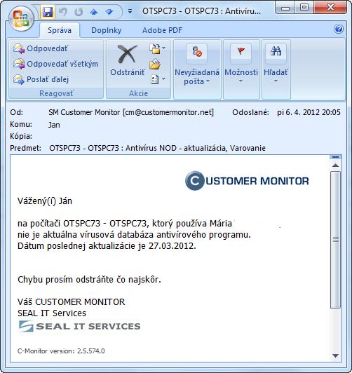 Príklad E-mailovej notifikácie o antivírusovej poruche