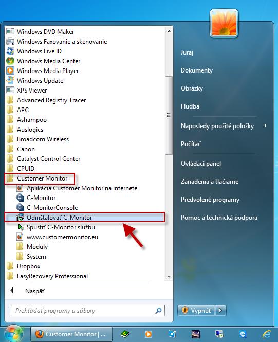 Odinštalácia C-Monitor Windows klienta cez windows