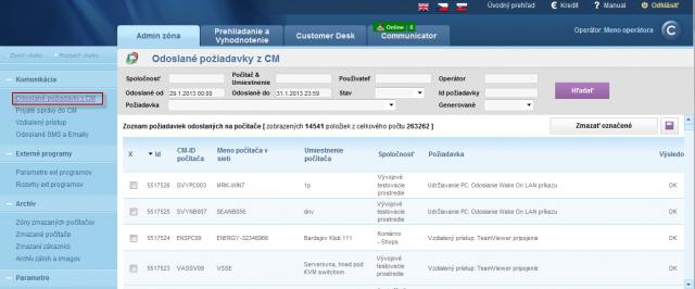 Zobrazenie odoslaných požiadaviek z CM portálu na jednotlivé PC