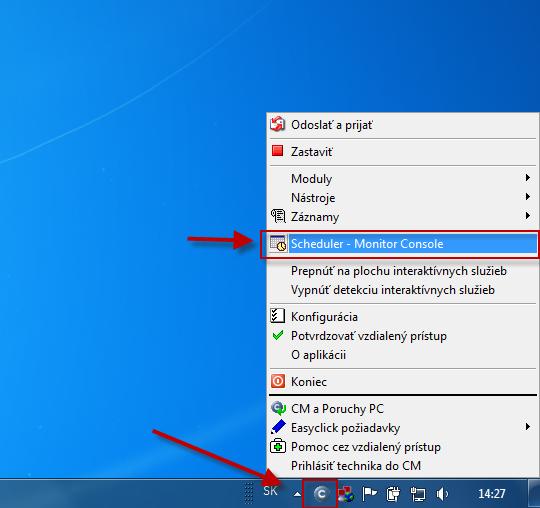 Vstup do schedulera prostredníctvom Tray menu C-Monitor ikonky