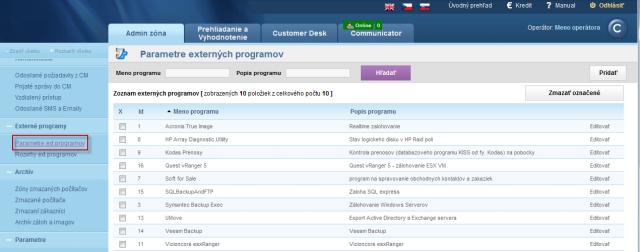Zoznam nastavených parametrov pre vyhodnocovanie chodu externých programov