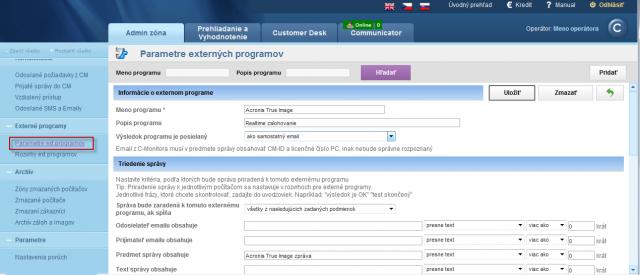 Detail nastavenia parametrov pre vyhodnocovanie konkrétneho externého programu
