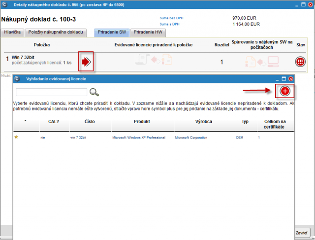Vytvorenie certifikátu z nákupného dokladu zrealizujete v záložke priradenie SW kliknutím na červenú šípku a následne v novootvorenom okne s názvom vyhľadanie evidovanej licencie kliknete na tlačidlo + ako je vyznačené na obrázku