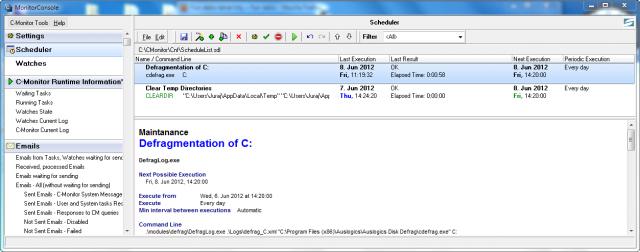 Príklad pre vytvorenie pravidelných úloh cez C-Monitor klienta