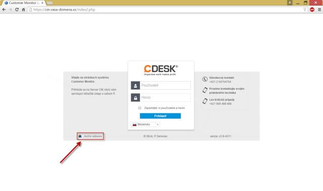 Vstup do archívu cez Úvodnú prihlasovaciu obrazovku do CM portálu