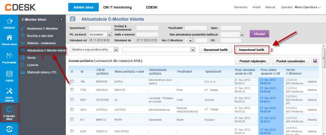 Import aktualizačného balíčku do CM portálu