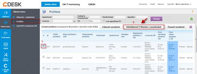 Odinštalácia C-Monitor Linux klienta cez CM portál