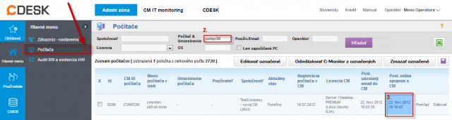 Zobrazenie online spojenia na CM portáli