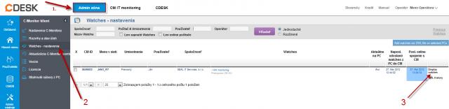Obrázok: Príklad pridania watchu cez CM portál