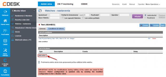 Obrázok: CM Portal - Add Watches Action
