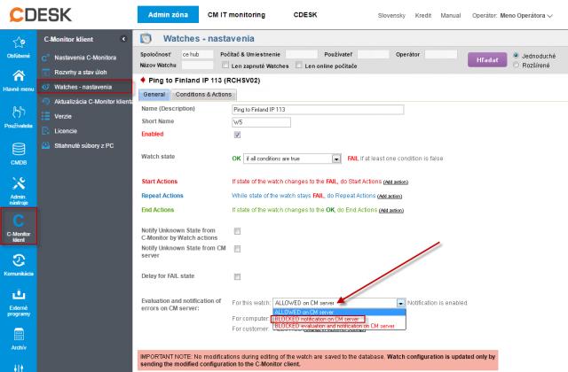 Obrázok: Blokácia notifikácie stavu Watches z CM Servera a súčasne zachovať vytváranie záznamov o poruchách