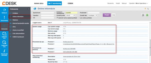 Online info na CM portáli - aktuálny stav a zvýraznenie riadkov s CPU, Memory procesmi