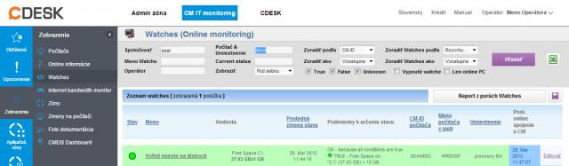 Kontrola Watchu cez web CM