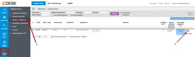 Obrázok: Pridanie nového watchu cez CM portál