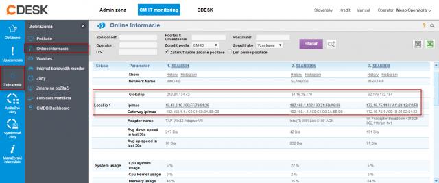 Aktuálne sieťové nastavenia v Online Informáciách