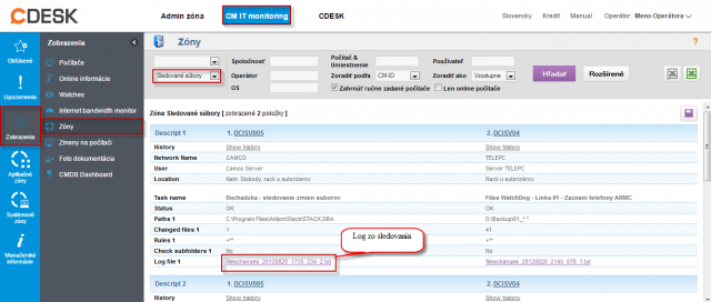 Sledovanie zmien súborov na CM portáli