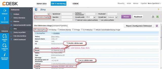 Informácie o C-Backup zálohovaní v časti Prehliadanie a Vyhodnotenie -> Zobrazenia -> Zóny -> Zóna zálohovanie a Image