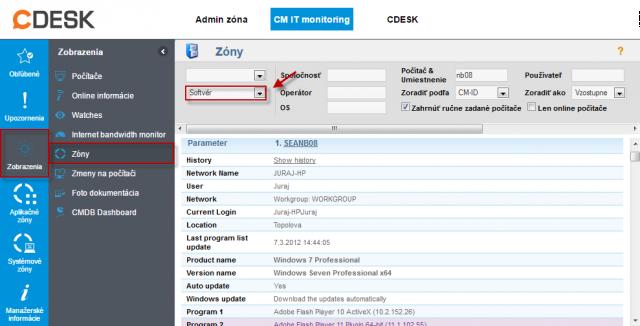 Zoznam nainštalovaného softvéru v časti Prehliadanie a vyhodnotenie -> Zóny -> Softvér