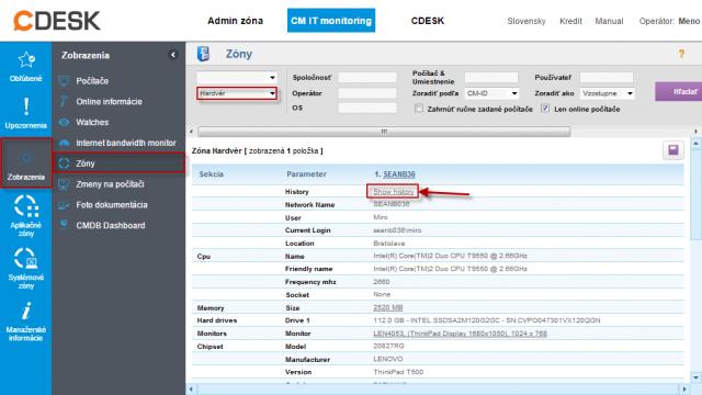 Zobrazenie histórie zmien v HW pre zariadenie v časti CM IT monitoring -> Zóny -> Hardvér kliknutím na Show History