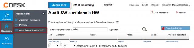 Zoznam nainštalovaného softvéru v časti Admin.zóna -> SW audit (a HW evidencia)
