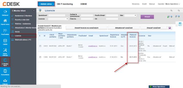 Skontrolovanie dátumu expirácie licencie na C-Monitor klientoch v CM Portáli.