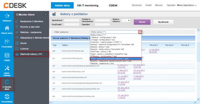 Zoznam stiahnutých súborov z konkrétneho počítača, zobrazenie filtra pre výber požadovaného typu súborov