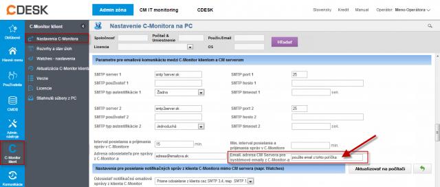 Určenie emailovej adresy pre odosielanie správ do CM servera