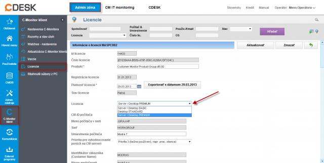 Zmena licencie C-Monitor klienta pre jeden počítač