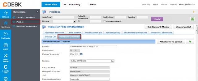 Zmena nastavení C-Monitor klienta v časti Admin zóna -> Hlavné menu -> Počítače