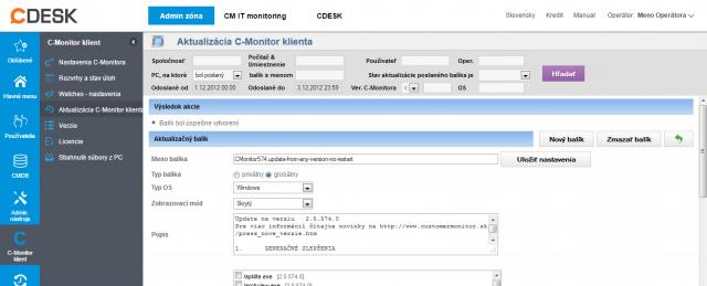 Úspešný import aktualizačného balíka do CM portálu