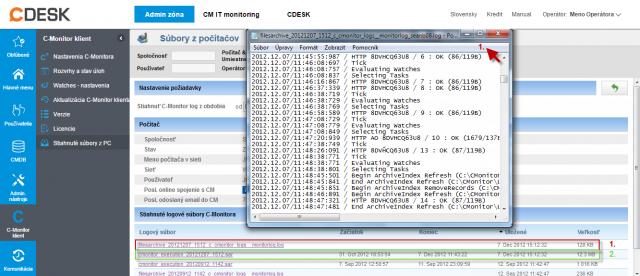 Zobrazenie C-Monitor Logu