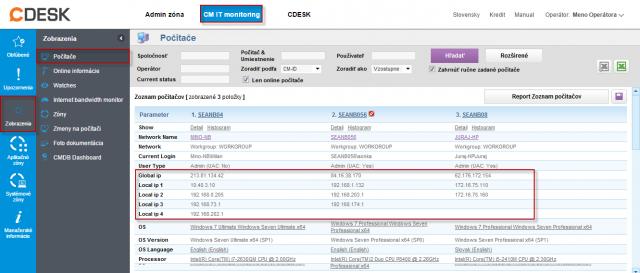 Zobrazenie Globálnej a Verejnej IP v časti Prehliadanie a Vyhodnotenie -> Zobrazenia -> Počítače