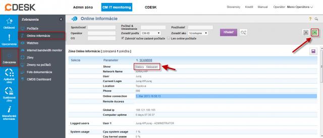 Online informácie s možnosťou exportu do excelu