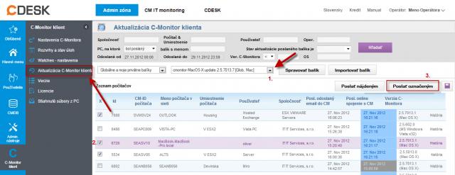 Rozposlanie aktualizačného balíčka C-Monitor MAC OS klienta na vybrané zariadenia