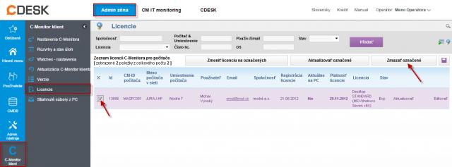 Zmazanie licencie C-Monitor klienta na CM Serveri