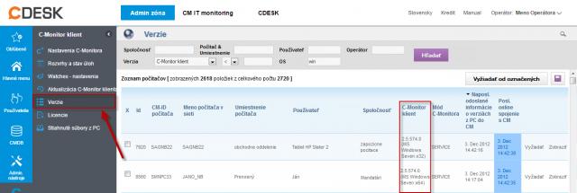 Overenie aktuálnej verzie C-Monitor klienta