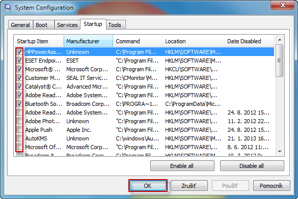 Vypnutie a zapnutie programov spúšťaných po štarte OS