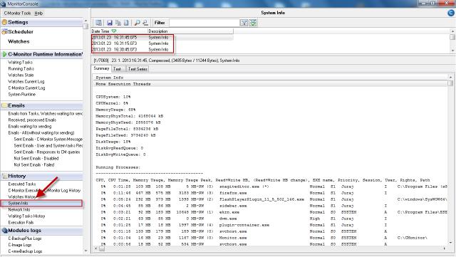 Zobrazenie System info v C-Monitor Windows klientovi