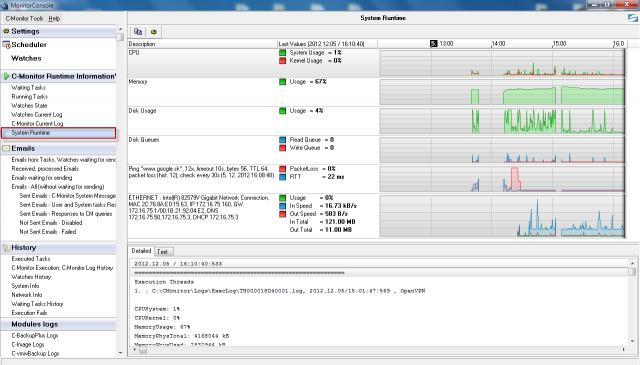 Po kliknutí na niektorý z grafov sa otvoria System Runtime informácie v C-MonitorConsole, kde je história údajov v grafickej aj detailnej tabuľkovej forme min. 48hod dozadu.