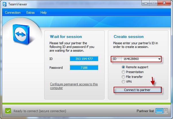 Pripojenie cez Teamviewer manuálnym zadaním ID