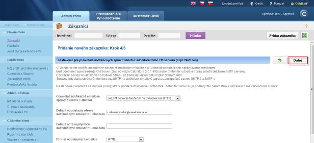 Krok 4 nastavenie posielania notifikačných správ mimo CM servera