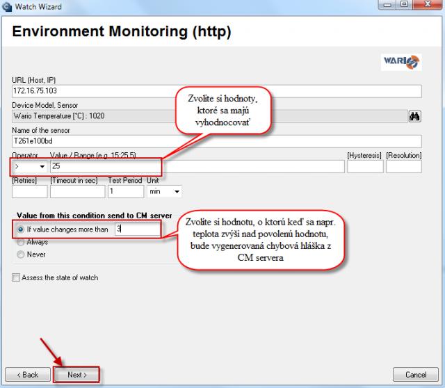 Nastavenie senzorov a podmienok pre vyhodnocovanie údajov zo senzorov