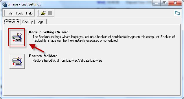 Úvodná obrazovka pre nastavenie zálohovania C-Image zvolíte možnosť Backup Settings Wizard