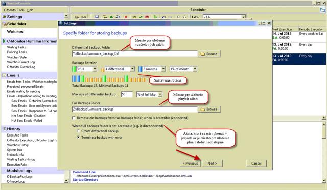 Nastavenie metódy plných a diferenciálnych záloh s rotáciou pre voľbu ukladania plných záloh na iné miesto ako diferenciálnych