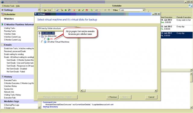 Po prihlásení na ESX(i) server sa vám zobrazia virtuálky, ktoré na ňom bežia ak ich popis svieti na červeno znamená to že pre zálohovanie nemáte platnú licenciu z CM servera
